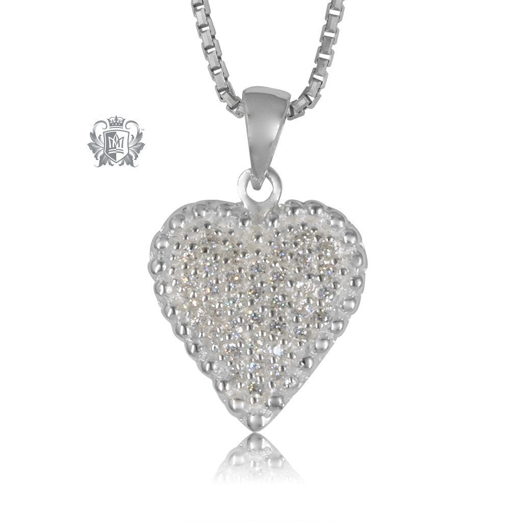 Metalsmiths Sterling Silver Pave Heart Slider Pendant