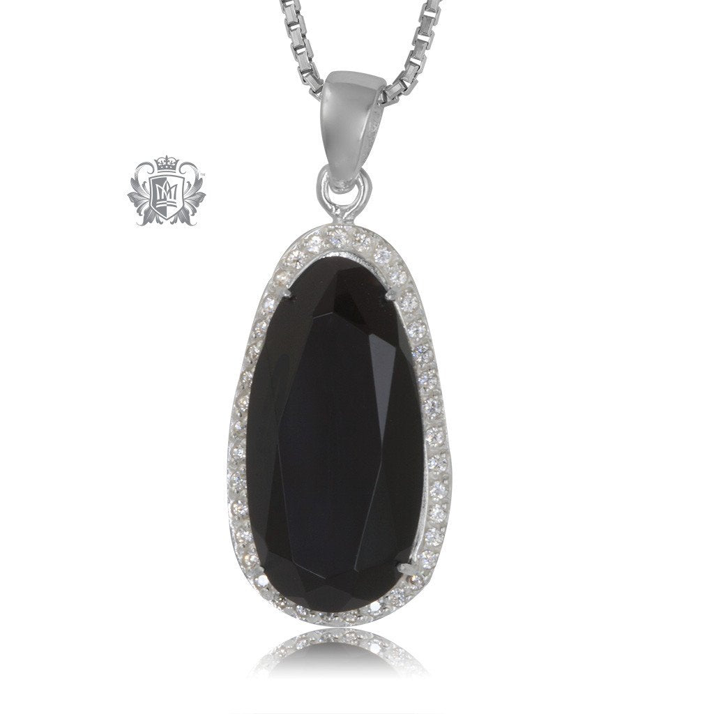 Black Onyx Drop Pendant Sterling Silver Necklace