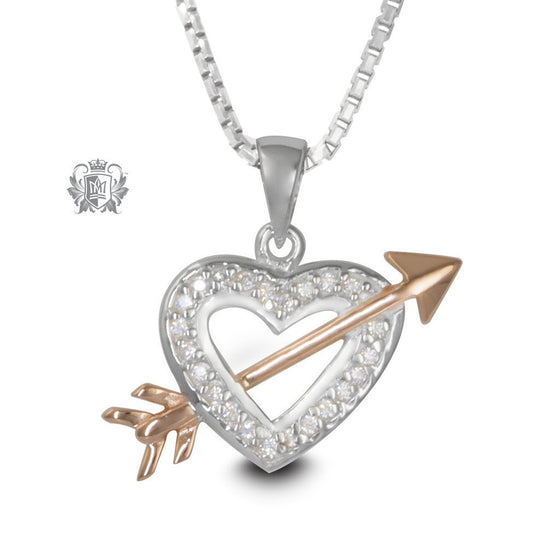 Sterling Silver and Rose Gold Heart Arrow Pendant