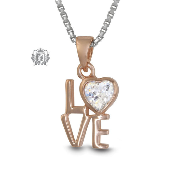 LOVE Pendant Rose Gold Dipped Sterling Silver