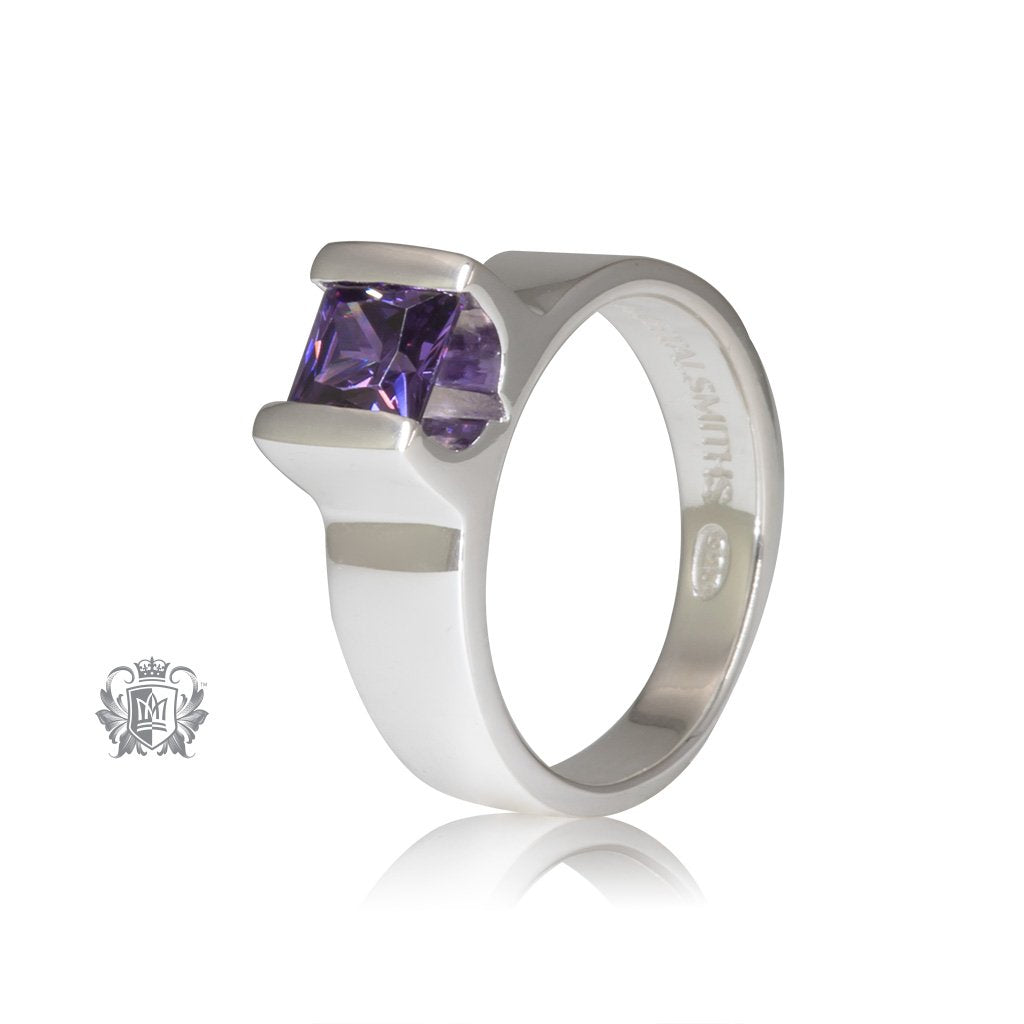 Amethyst Cubic Floating Channel Set Ring Sterling Silver Front