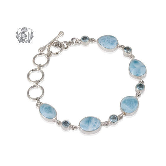 Larimar & Blue Topaz Toggle Bracelet Metalsmiths Sterling Silver One of A Kind