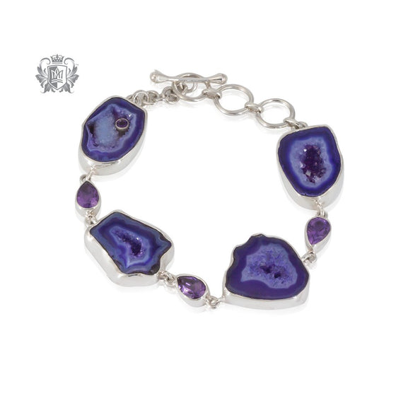 Amethyst Agate & Amethyst Toggle Bracelet Metalsmiths Sterling Silver One of A Kind