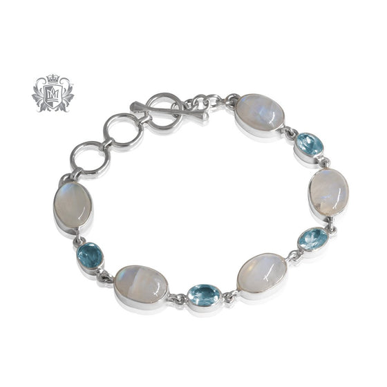 Moonstone & Blue Topaz Toggle Bracelet Metalsmiths Sterling Silver One of A Kind