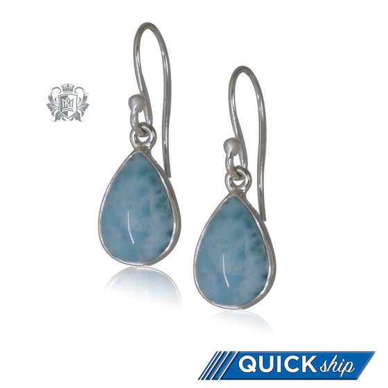 Larimar Pear Hangers - Quick Ship
