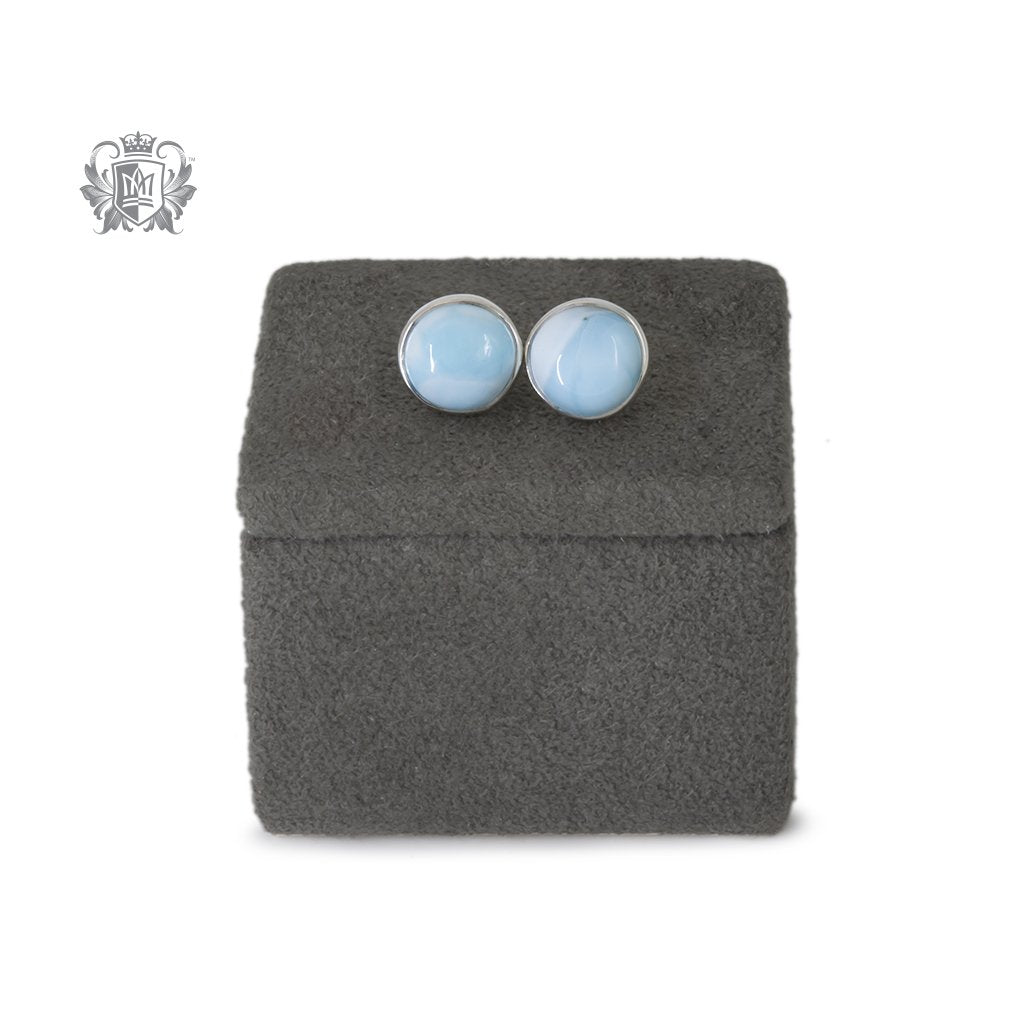Larimar Round Stud Earrings Large with Reference