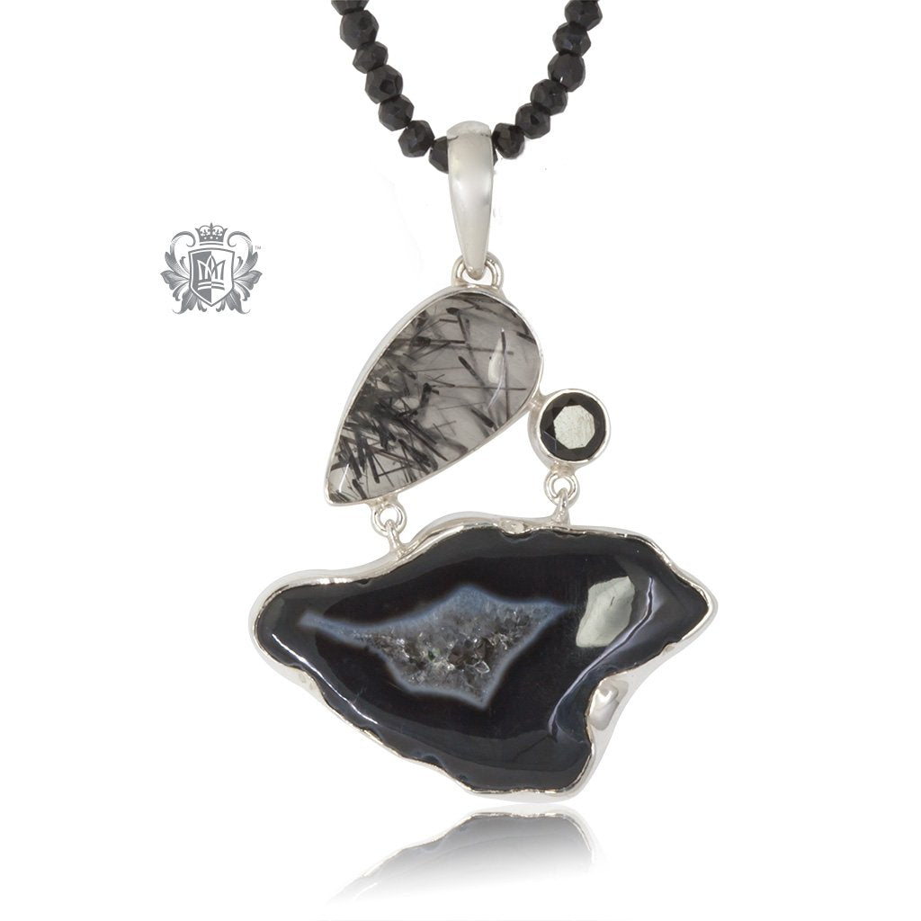Black Agate, Black Spinel & Rutilated Quartz Statement Necklace