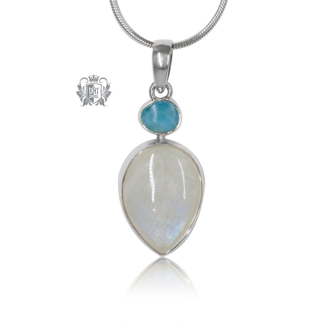 Larimar & Teardrop Moonstone Pendant Metalsmiths Sterling Silver One of A Kind
