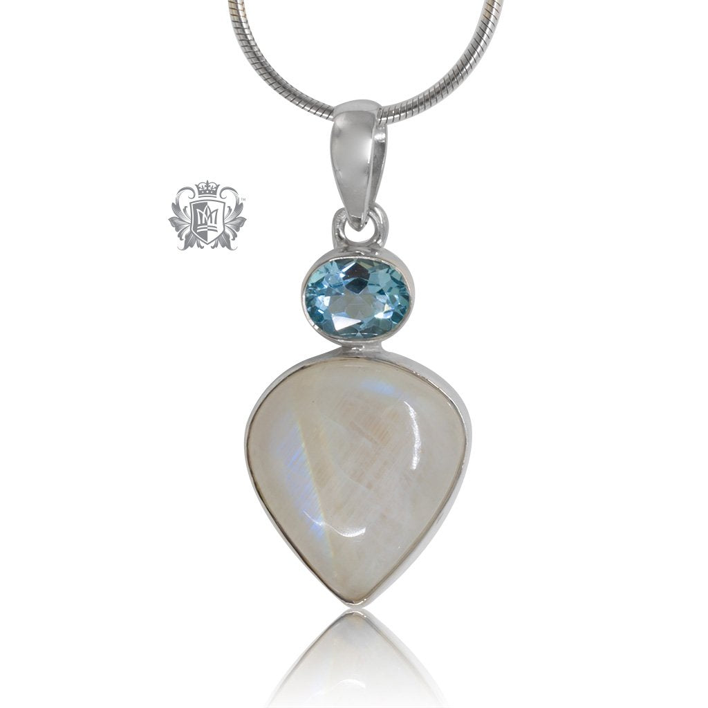 Blue Topaz & Teardrop Moonstone Pendant Metalsmiths Sterling Silver One of A Kind