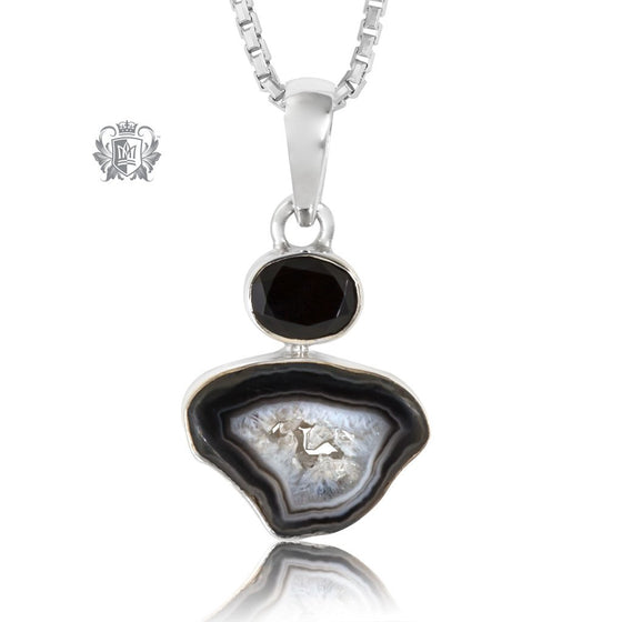 Black Agate Slice with Checker Cut Black Spinel Pendant Sterling Silver One of A kind