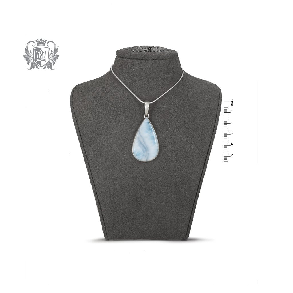 Large Larimar Pear Pendant Sterling Silver One of a Kind On Bust