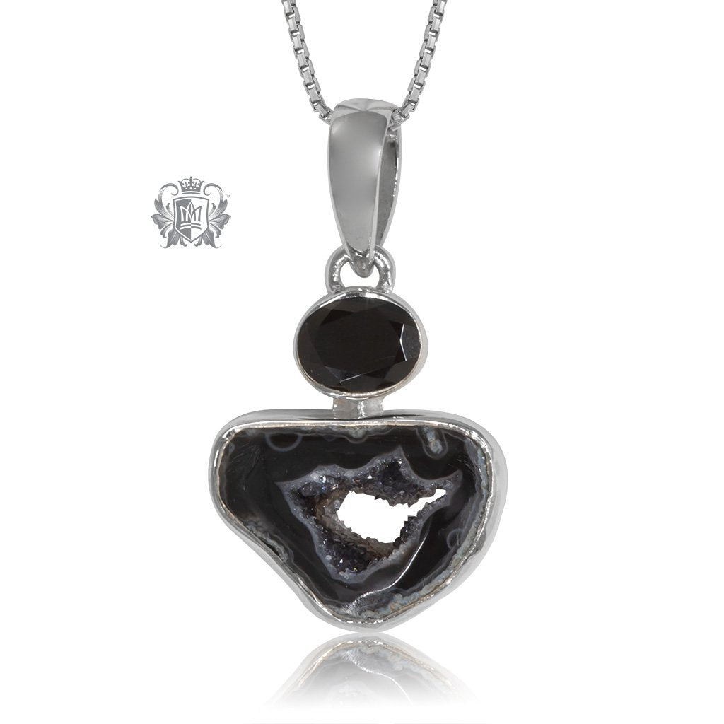 Black Spinel & Black Agate Slice Pendant Metalsmiths Sterling Silver