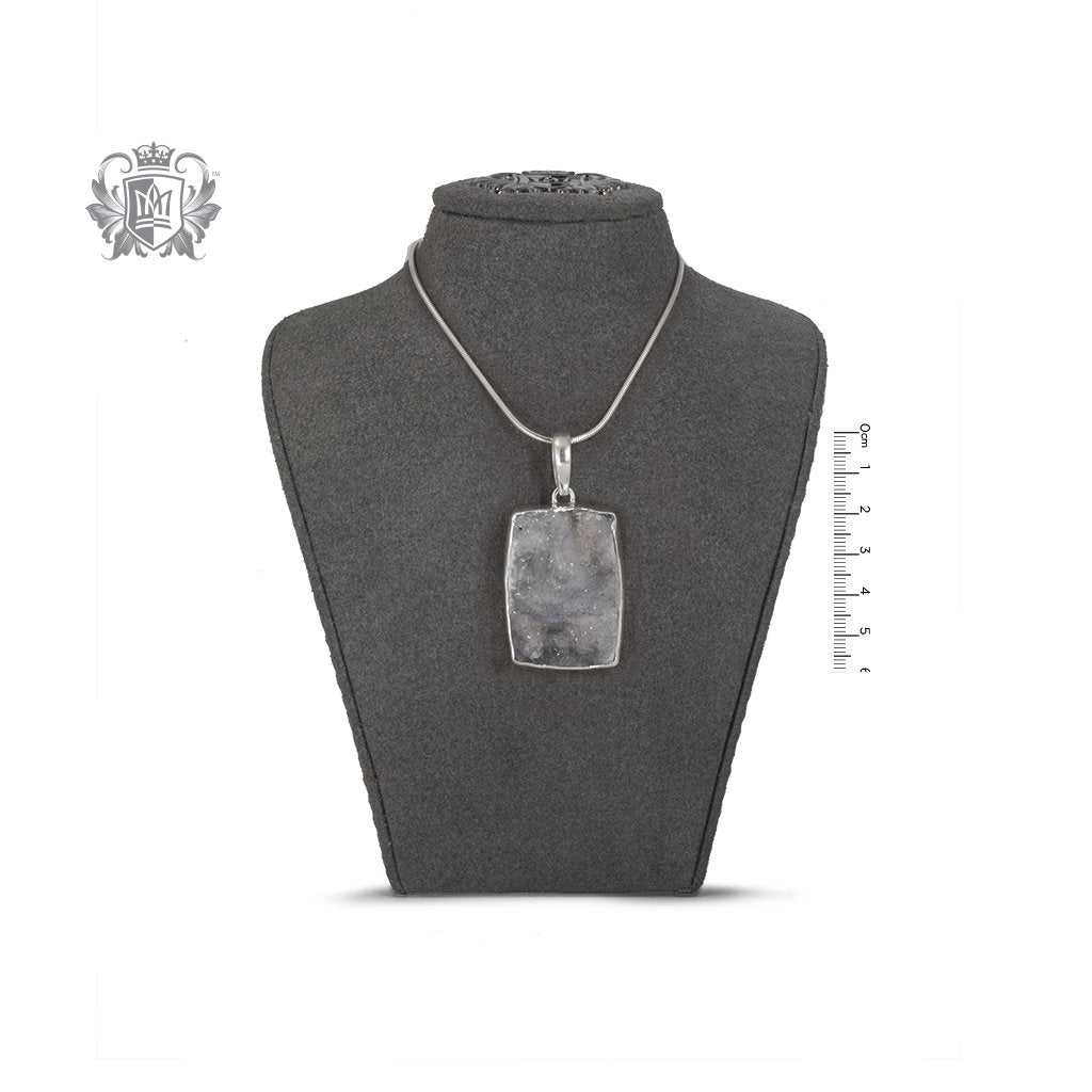 Oversized Rectangular Druzy Pendant Metalsmiths Sterling Silver On Bust