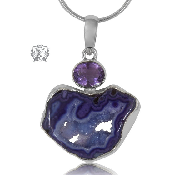 Unique Amethyst Agate Slice with Bezel Set Amethyst Pendant