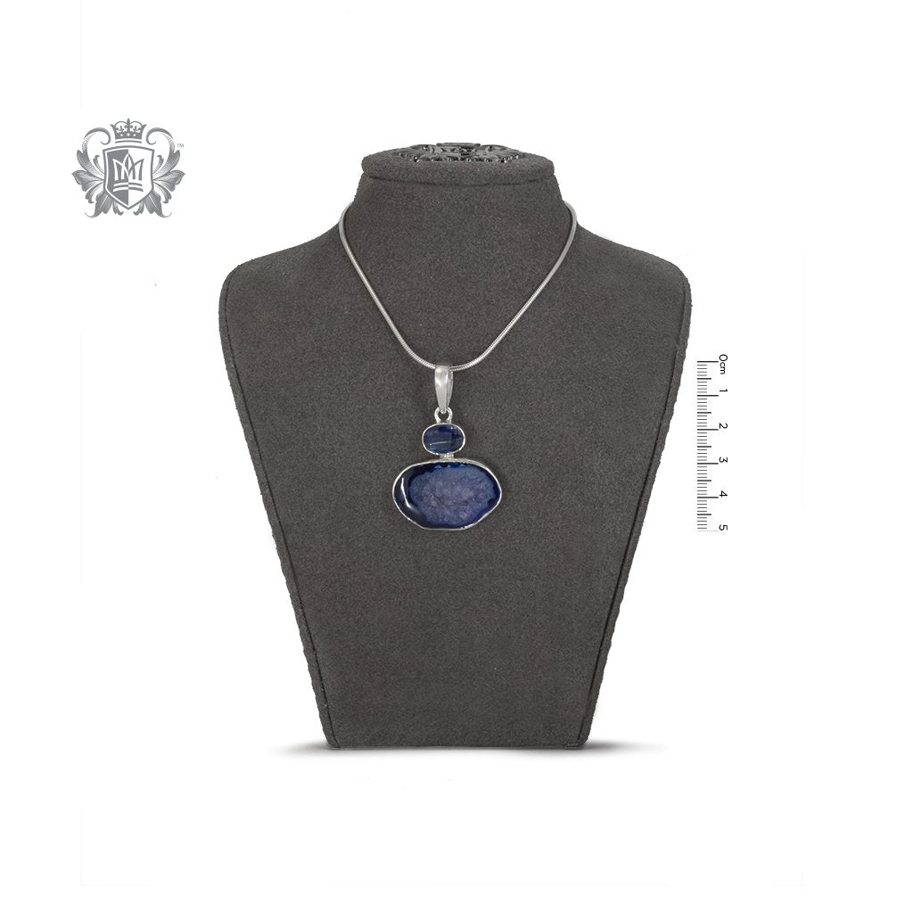 Denim Agate & Iolite Pendant Metalsmiths Sterling Silver on Bust