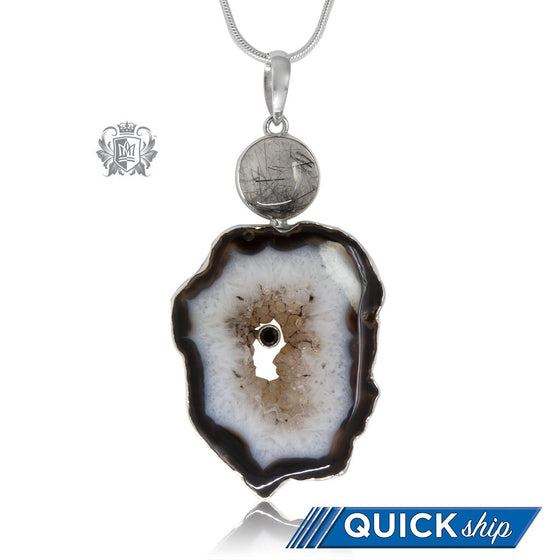 Black Agate & Rutilated Quartz Statement Pendant - Quick Ship