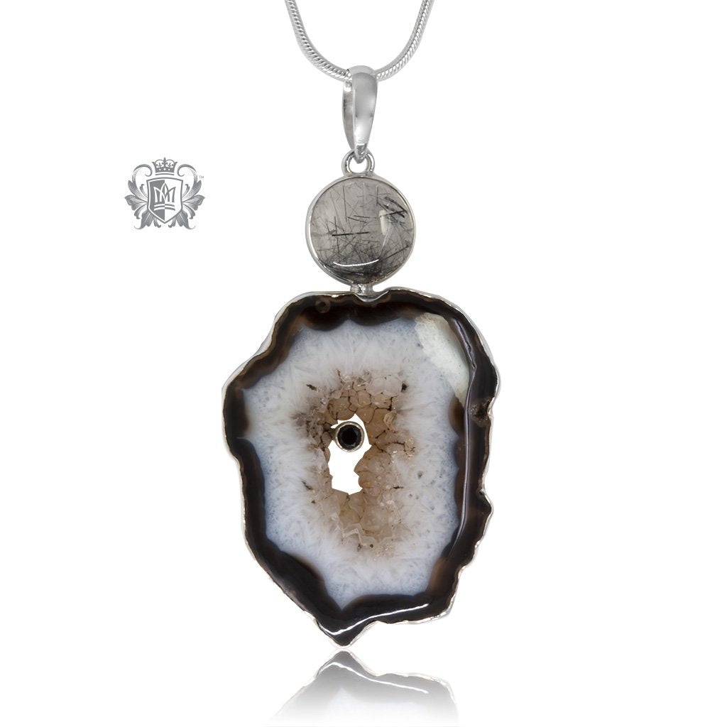 Black Agate & Rutilated Quartz Statement Pendant
