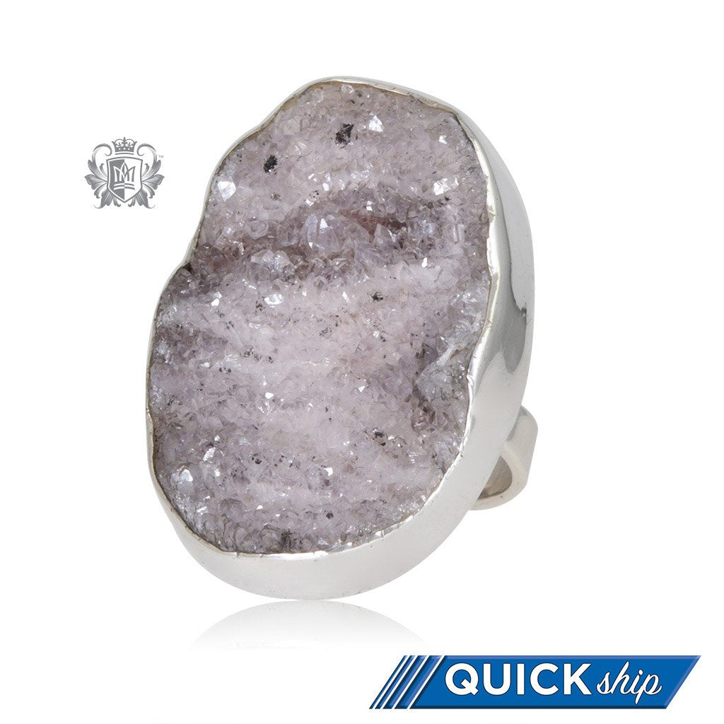 Oversized Oval Druzy Ring Metalsmiths Sterling Silver Quick Ship