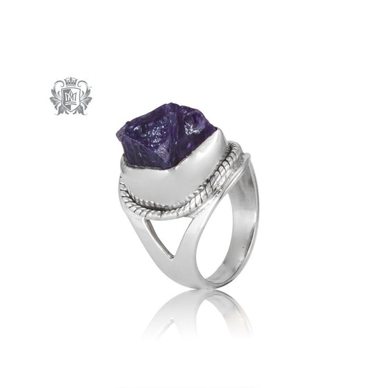 Cabled Raw Amethyst Statement Ring Sterling Silver One of A Kind