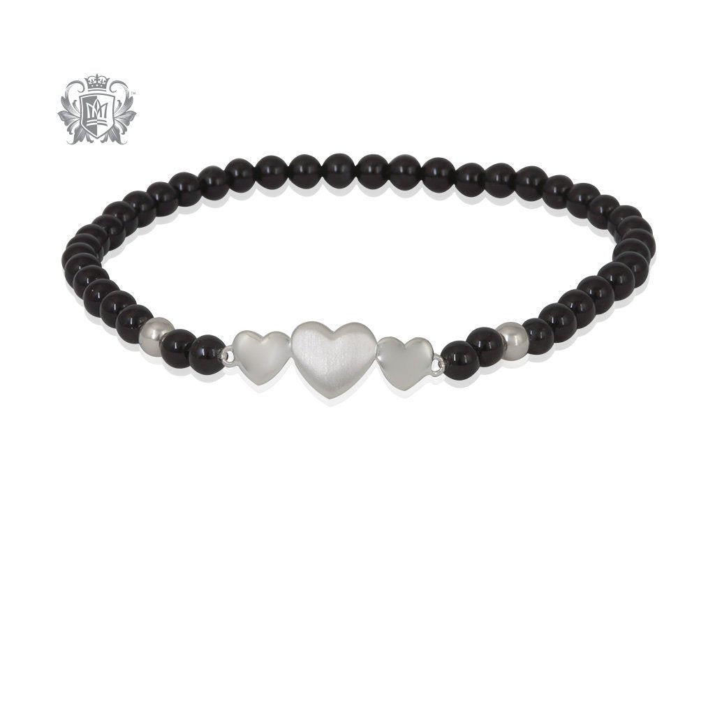 Black Onyx Triple Heart Friendship Bracelet