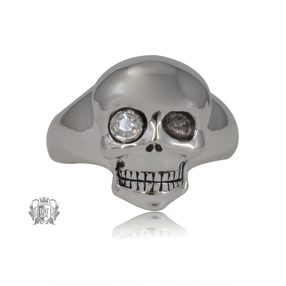Modern Sparkle Skull Signet Ring - SAMPLE
