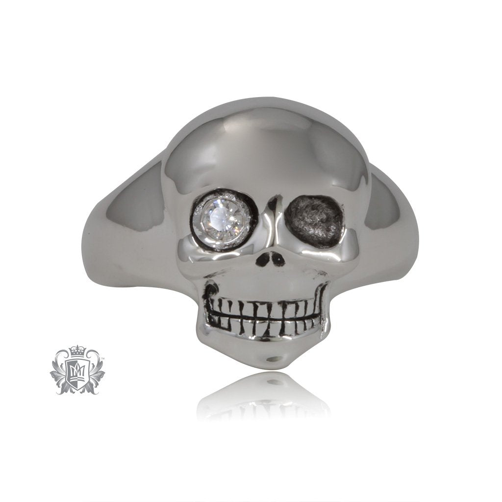 Modern Sparkle Skull Signet Ring - SAMPLE - Metalsmiths Sterling™ US