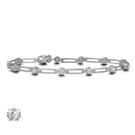 Metalsmiths Sterling Linear Sparkle Tennis Bracelet