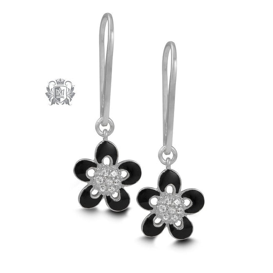 Floral Black Enamel Hanger Earrings Sterling Silver
