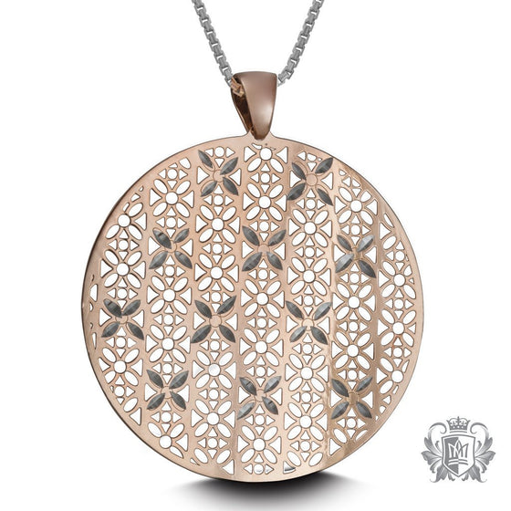 Metalsmiths Sterling Silver Rose Gold Dipped Round Floral Cut-out Pendant