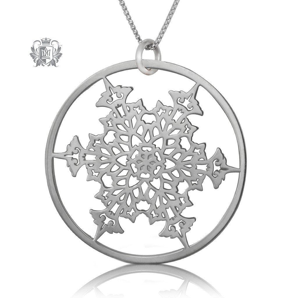 sterling silver diamond with in pendant jewelry snowflake