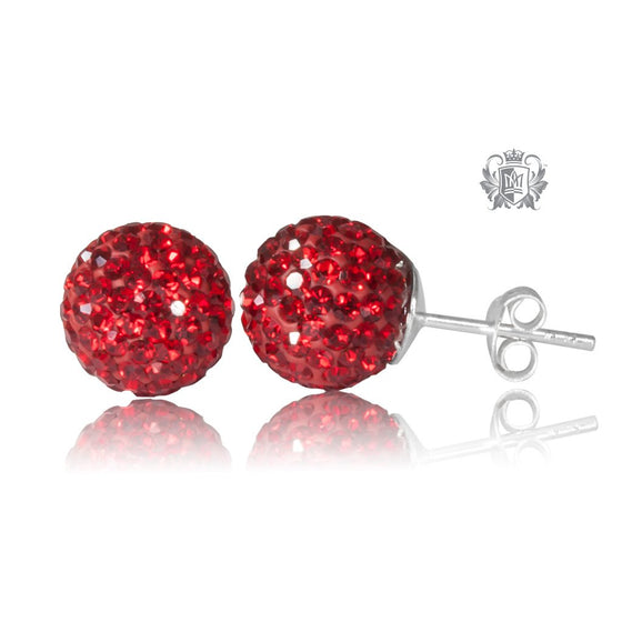 Red Austrian Crystal Shambhala Stud Earrings Sterling Silver