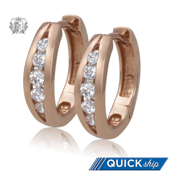 Rose Gold Split Band Cubic Huggies - Metalsmiths Sterling™ Canada