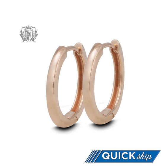 Quick Ship Rose Gold Dipped Round Edge Huggies
