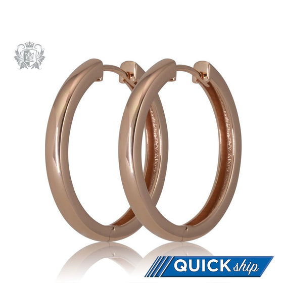 Rose Gold Dipped Squared Hinged Huggies - Quick Ship