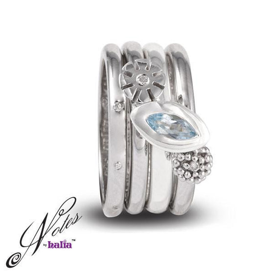 Blue Topaz Best Bouquet Stacking Ring Set Sterling Silver Notes by Halia