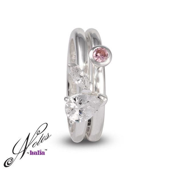 Pink Cubic Bold Debut Stacking Ring Set Sterling Silver Notes by Halia