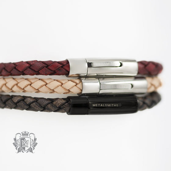 Braided Leather Bracelet with Stainless Steel Clasp - Metalsmiths Sterling™ Canada