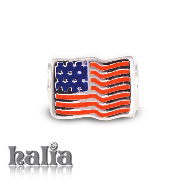 American Flag -  Sterling Silver with Enamel Beads