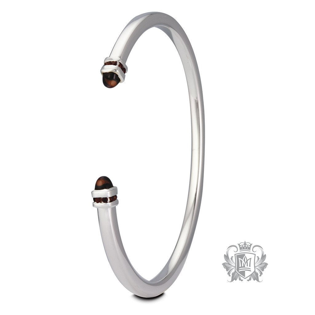 Cabochon End Bangle with Channel Set Accents - Metalsmiths Sterling™ Canada