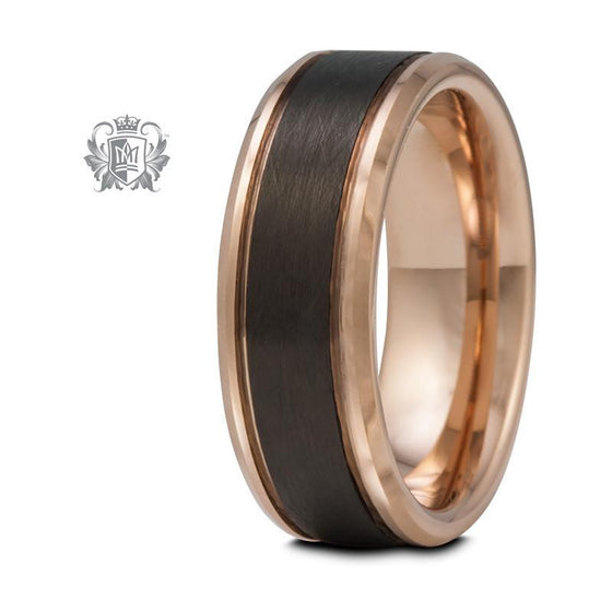 Rose Gold Coloured Tungsten Band with Black Brushed Inlay - Size 9 Tungsten Rings - 1