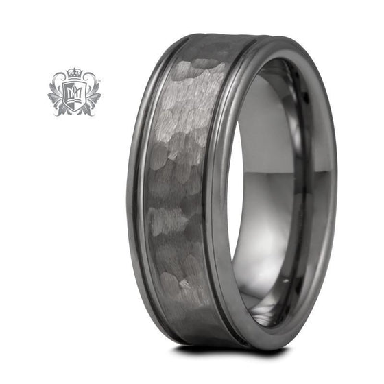 Eased Edge Tungsten Band with Hammered Texture - Size 9 Tungsten Rings - 1