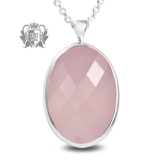 Oval Checker Rose Quartz Pendant - 18 inch chain Gemstone Pendants