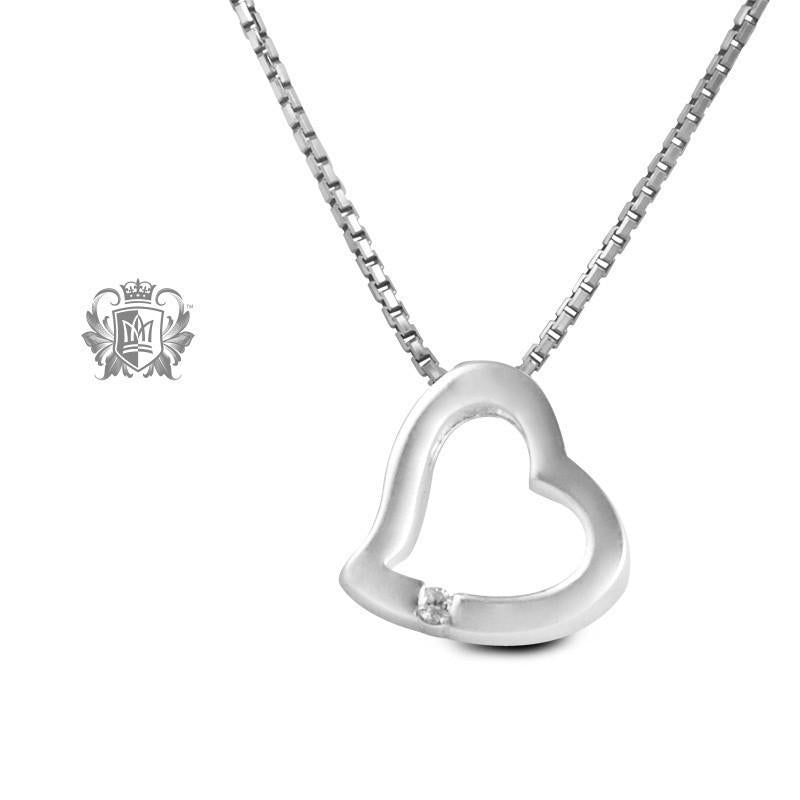 Heart Slider Pendant with Channel Set Diamond - 18 inch chain Heart Pendant - 1