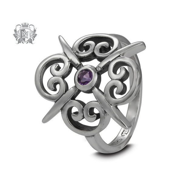 Panos Konidas Scroll Shield Ring - Amethyst (Unique) Size 7 -  Gemstone RIngs
