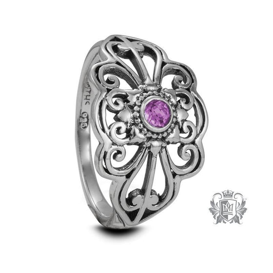 Panos Konidas Marquise Scroll Ring - Amethyst / Size 6 Gemstone RIngs - 1