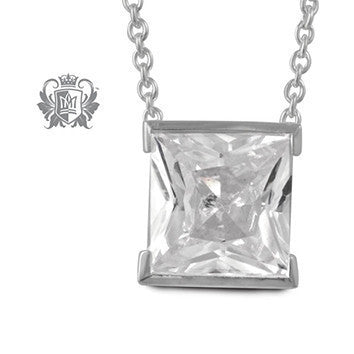 Square Step Cut Bezel Cubic Pendant - 18 inch chain Gemstone Pendants - 1