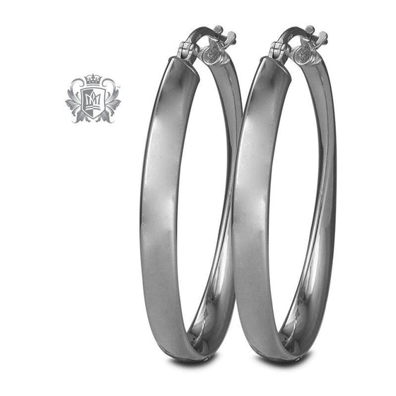 Flat Twist Hoops - Sterling Silver Hoop Earrings - 2