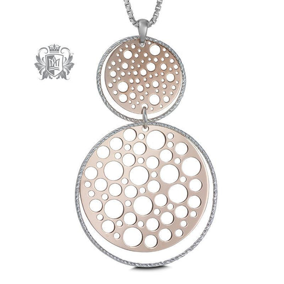 Double Round Water Drop Rose Gold Dipped Pendant - 18 inch chain Pendants - 1