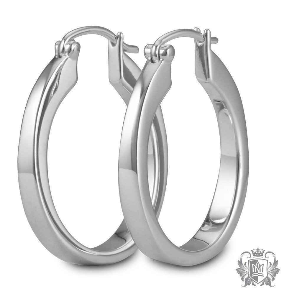 Tapered Oval Hoops -  Hoop Earrings
