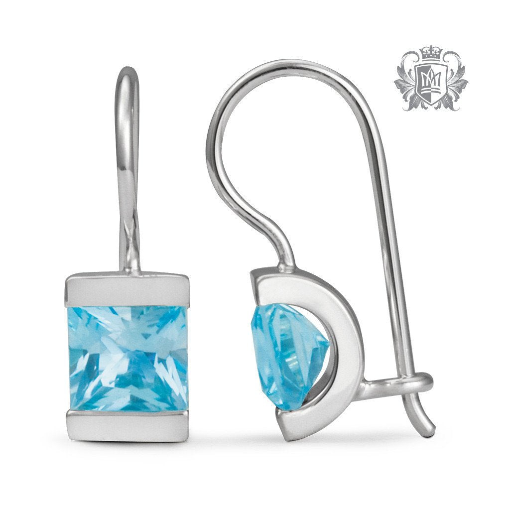 Blue Topaz Cubic Channel Set Hanger Earrings Sterling Silver